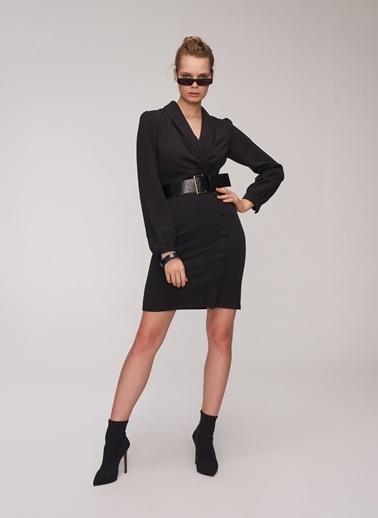 People By Fabrika Düğmeli Kruvaze Elbise Siyah